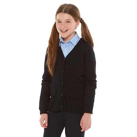 Debenhams - Girl+s navy school uniform peplum cardigan
