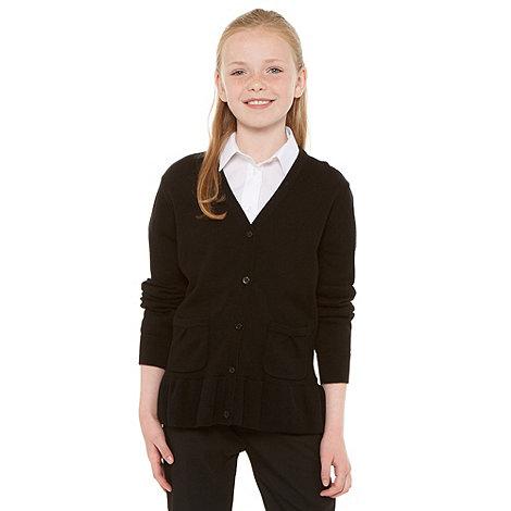 Debenhams - Girl+s black school uniform peplum cardigan