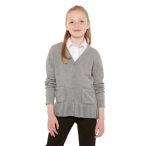 Debenhams - Girl+s grey school uniform peplum cardigan