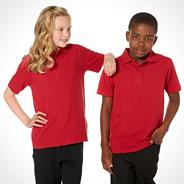 Pack of three unisex red PE school uniform polo shirts