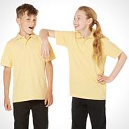 Pack of three unisex yellow PE school uniform polo shirts