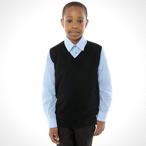 Debenhams - Unisex black sleeveless school uniform jumper