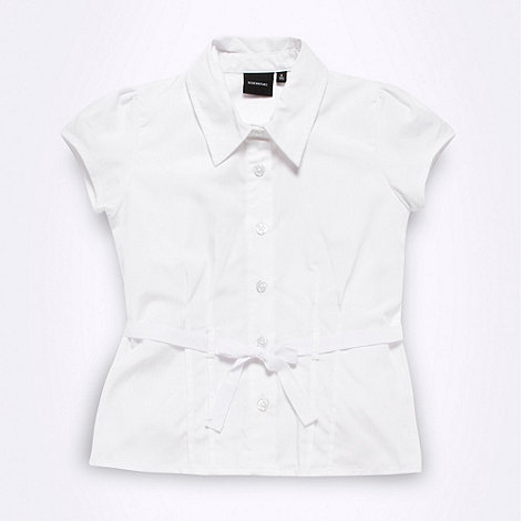 Debenhams - Girl+s white tie waist school uniform blouse