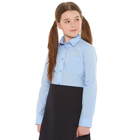 Debenhams - Girl+s pack of two blue long sleeved school uniform shirts