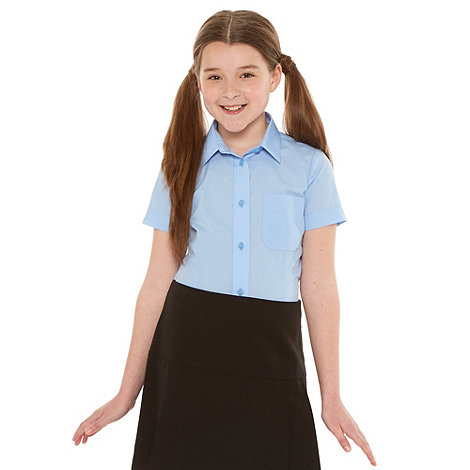 Debenhams - Girl+s pack of two blue short sleeved school uniform shirts