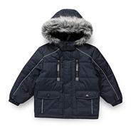 Boy's blue faux fur hooded school uniform coat
