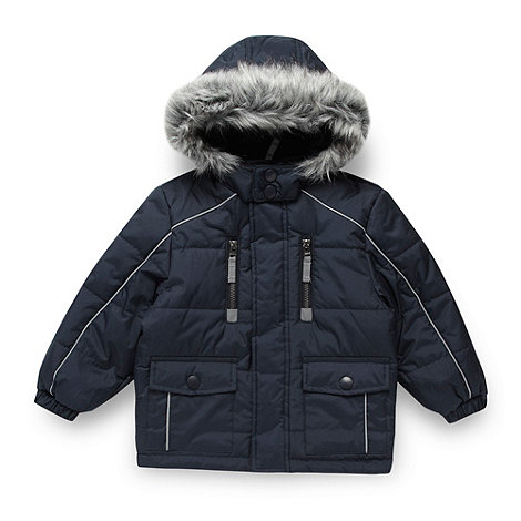 Debenhams - Boy+s blue faux fur hooded school uniform coat