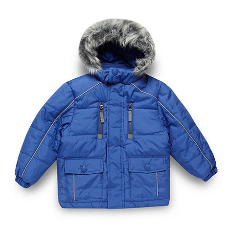 Debenhams - Boy+s blue faux fur hooded school uniform coat
