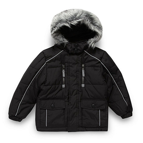 Debenhams - Boy+s black faux fur hooded school uniform coat