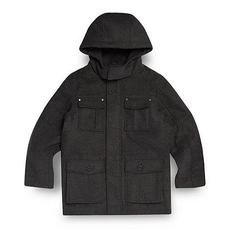 Debenhams - Boy+s black duffle school uniform coat