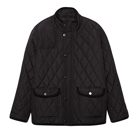 Debenhams - Boy+s black quilted School uniform jacket