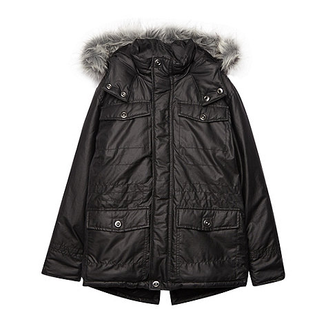 Debenhams - Boy+s black waxed school uniform parka