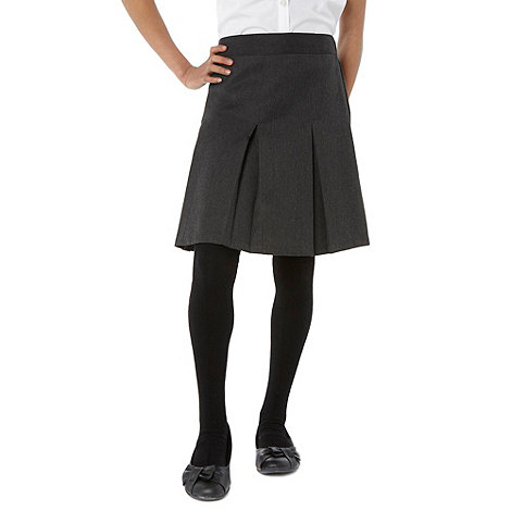 Debenhams - Girl+s grey pleated school uniform skirt