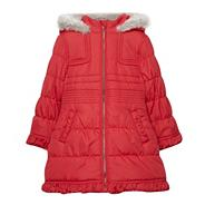 Girl's red padded school uniform coat