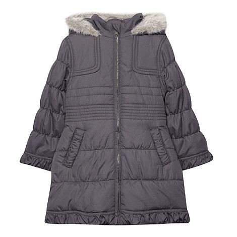 Debenhams - Girl+s grey faux fur hooded school uniform jacket