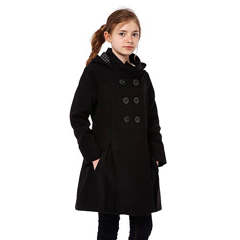 Debenhams - Girl+s black hooded school uniform coat