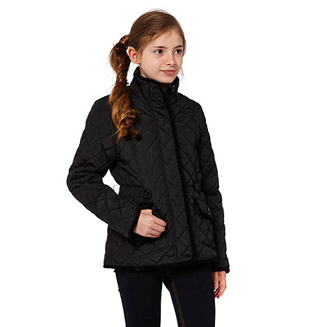 Debenhams - Girl+s black quilted school uniform jacket
