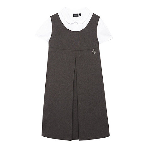 Debenhams - Girl+s grey school uniform pinafore and blouse set