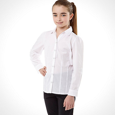 Debenhams - Girl+s white roll sleeve school uniform blouse