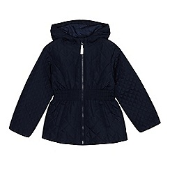 Debenhams - Girls' navy quilted coat