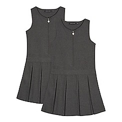 Debenhams - Pack of two girls' grey school pinafore dress
