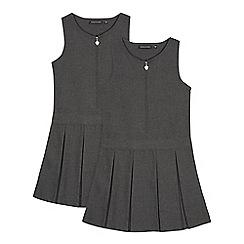 Debenhams - Pack of two girls' grey school pinafore dress