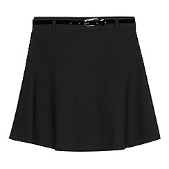 Debenhams - Girls' black grey belted school skirt