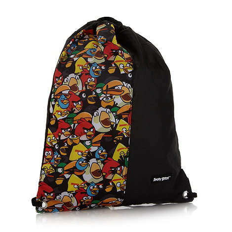 Debenhams - Boy+s black +Angry Birds+ gym bag