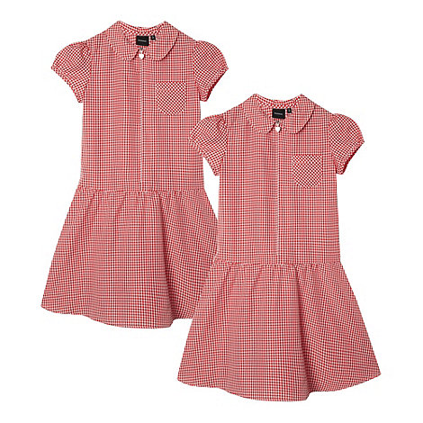 Debenhams - Pack of two girl+s red gingham school dresses