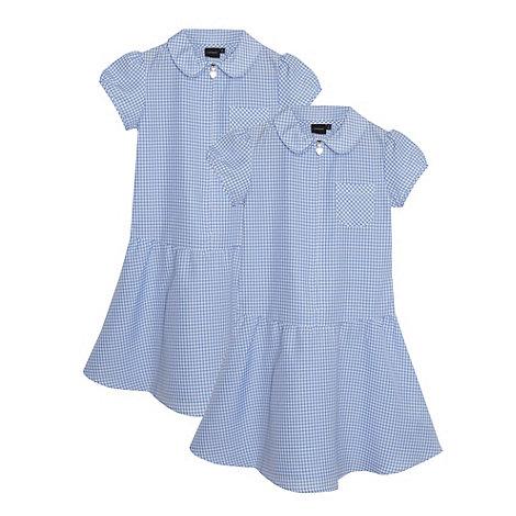 Debenhams - Girl+s blue pack of two gingham school dress