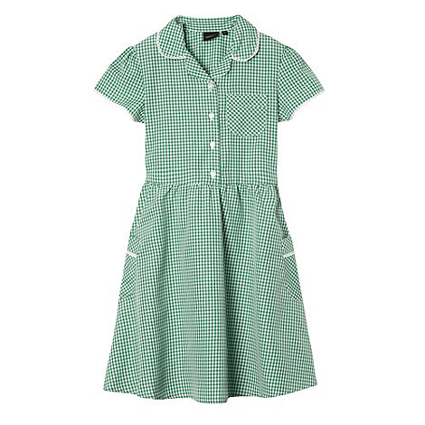 Debenhams - Girl+s green gingham school dress