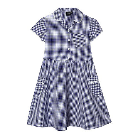 Debenhams - Girl+s navy gingham school dress