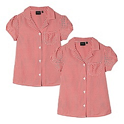 Debenhams - Pack of two girl's red gingham school blouses