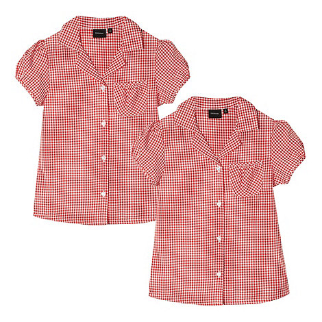 Debenhams - Pack of two girl+s red gingham school blouses