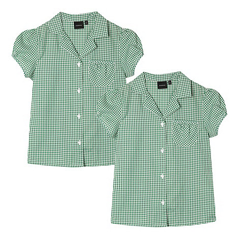 Debenhams - Pack of two girl's green gingham school blouses