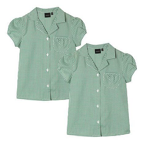 Debenhams - Pack of two girl+s green gingham school blouses