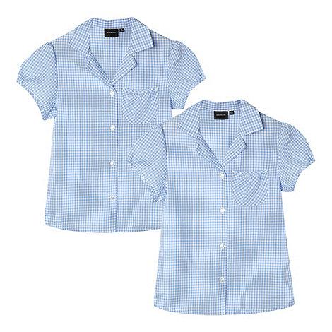 Debenhams - Pack of two girl+s blue gingham school blouses