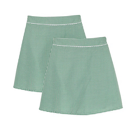 Debenhams - Pack of two girl+s green gingham school skirts
