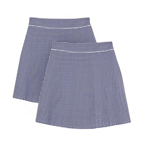 Debenhams - Pack of two girl+s navy gingham school skirts