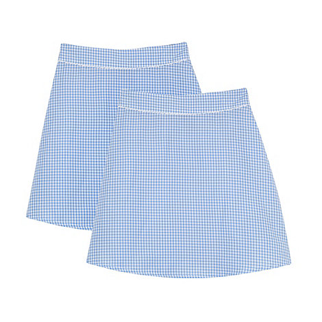 Debenhams - Pack of two girl+s light blue gingham school skirts