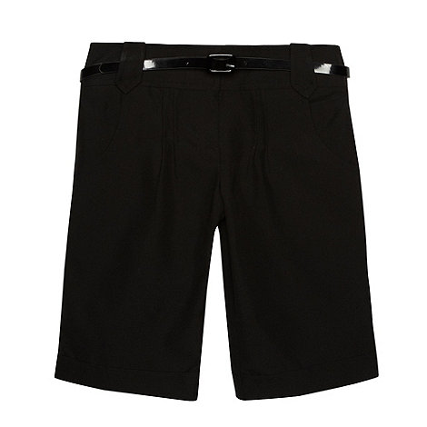 Debenhams - Girl+s black belted school shorts