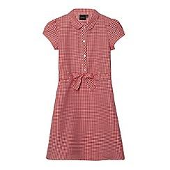 Debenhams - Girl's red gingham tie school dress