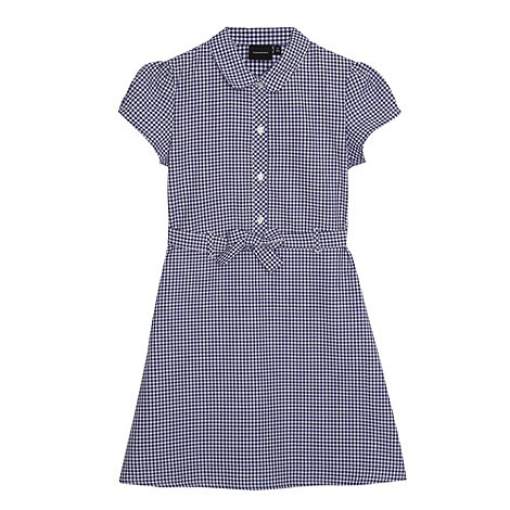 Debenhams - Girl+s navy gingham tie school dress