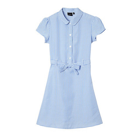 Debenhams - Girl+s blue gingham tie school dress