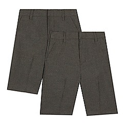 Debenhams - Pack of two boys' grey classic school shorts