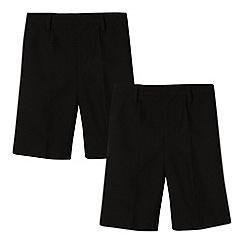 Debenhams - Pack of two boy's black plain school shorts