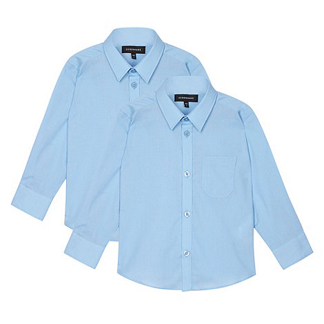 Debenhams - Boy+s two pack of blue long sleeved school shirts