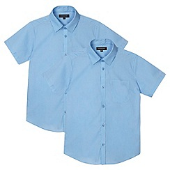 Debenhams - Pack of two boy's blue school shirts