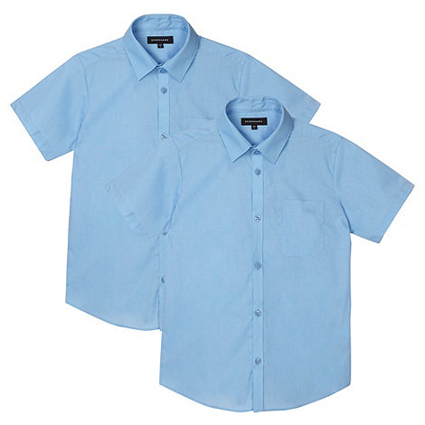 Debenhams - Pack of two boy+s blue school shirts