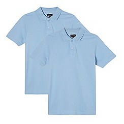 Debenhams - Pack of two boy's blue pure cotton school polo shirts